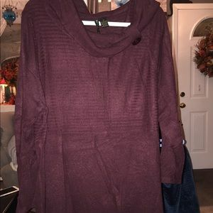 Long cowl button neck sweater